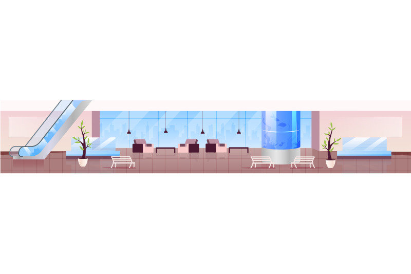 lounge-zone-flat-color-vector-illustration