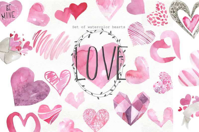 set-of-watercolor-hearts
