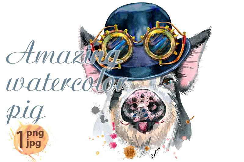 watercolor-portrait-of-pig-with-hat-bowler-and-steampunk-glasses