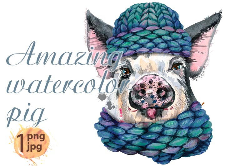 cute-watercolor-piggy-pig-for-t-shirt-graphics