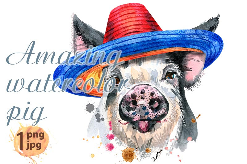 cute-piggy-in-mexican-hat-pig-for-t-shirt-graphics