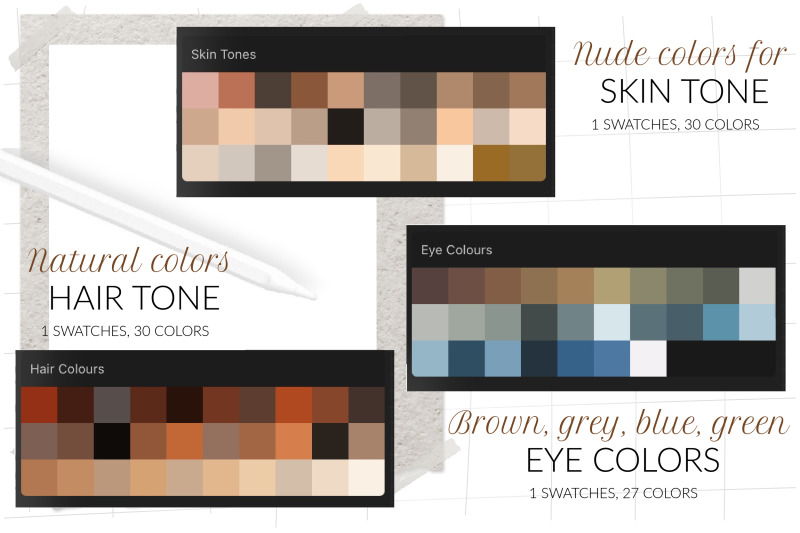people-portrait-swatches-for-procreate-skin-tone-swatches-hair-color