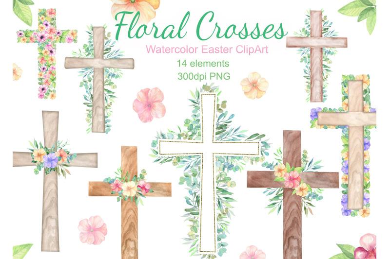 watercolor-easter-cross-clipart-floral-crosses-digital-card-flowers