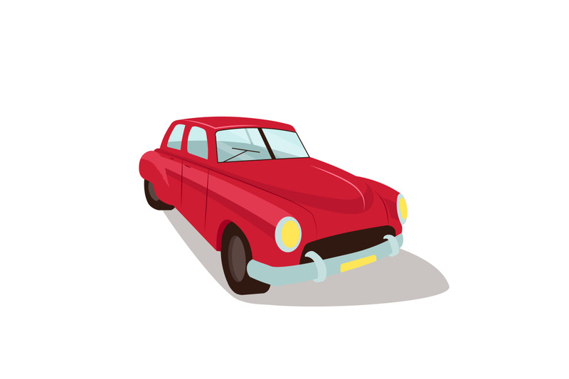 red-vintage-car-flat-color-vector-object