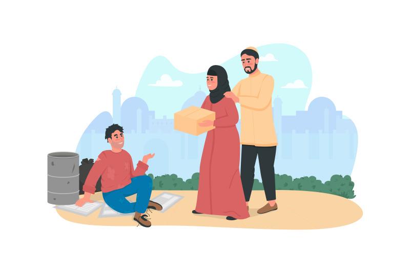 arabian-couple-help-homeless-person-2d-vector-web-banner-poster