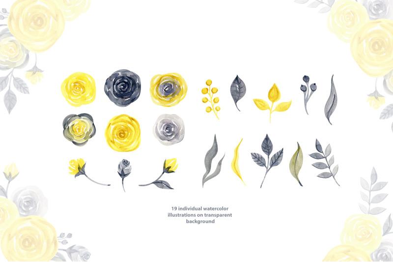 watercolor-yellow-amp-gray-roses