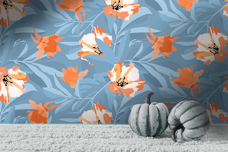 orange-flowers-on-blue