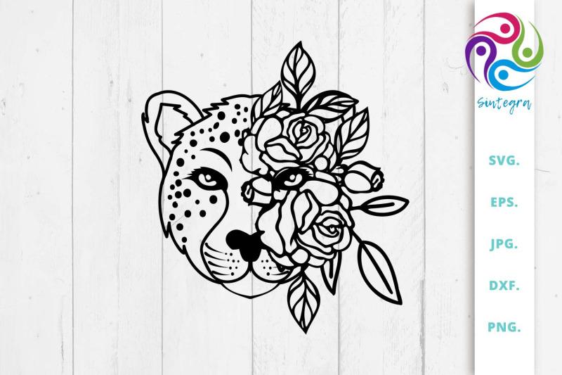 cheetah-floral-svg-cheetah-cut-file