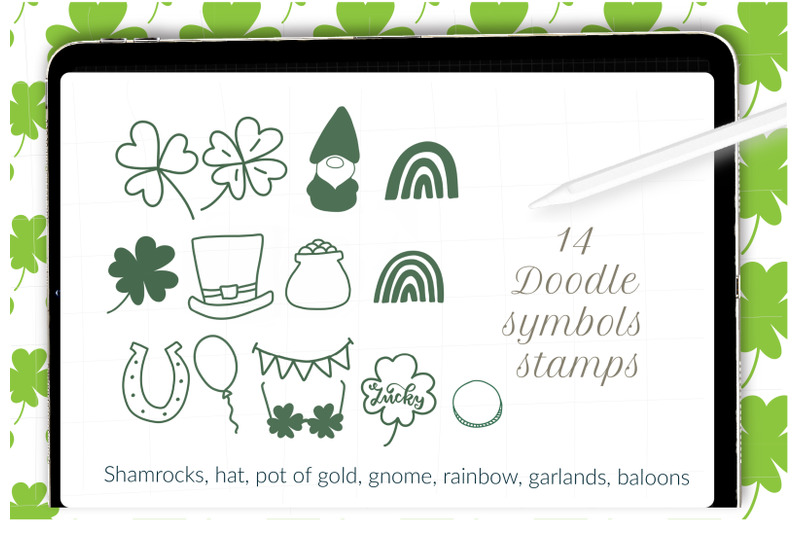 st-patricks-day-stamps-for-procreate-shamrock-pattern-brushes-clover