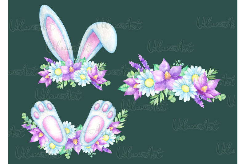 watercolor-easter-clipart-bunny-ears-paws-easter-eggs-flowers-png