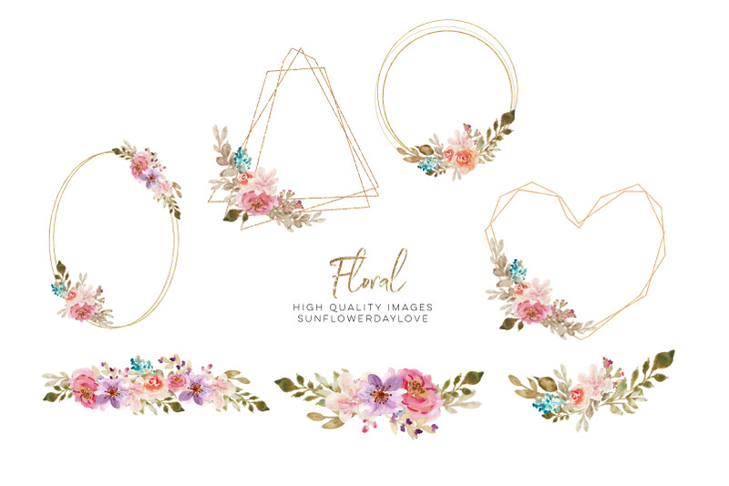 watercolor-floral-gold-frame-clipart-geometric-flower-borders-frames