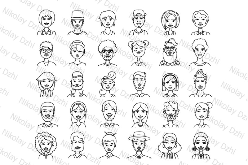 people-vector-60-avatars-icons-linear