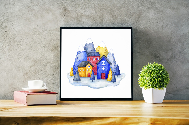 mountains-and-houses-watercolor-illustration