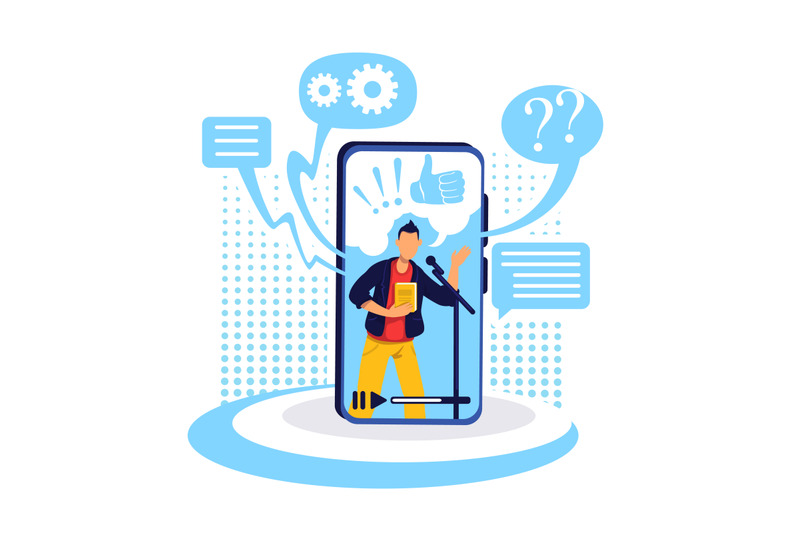 podcast-on-smartphone-flat-concept-vector-illustration