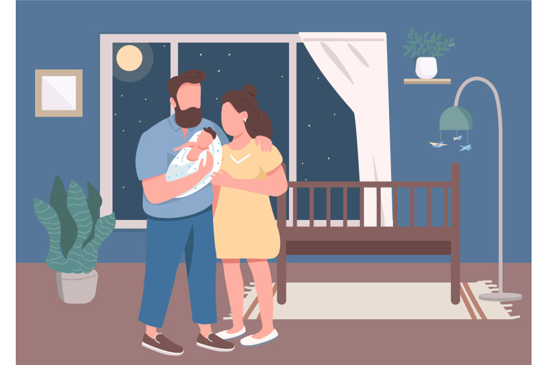 young-parents-with-infant-flat-color-vector-illustration