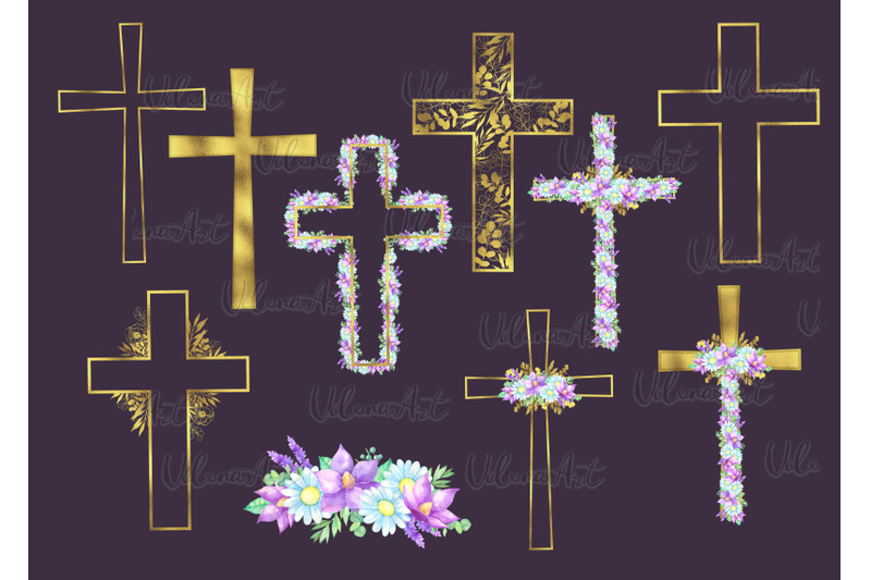 watercolor-easter-gold-cross-clipart-floral-crosses-digital-card