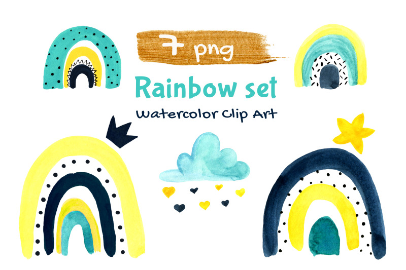 rainbows-watercolor-baby-first-nursery-clipart