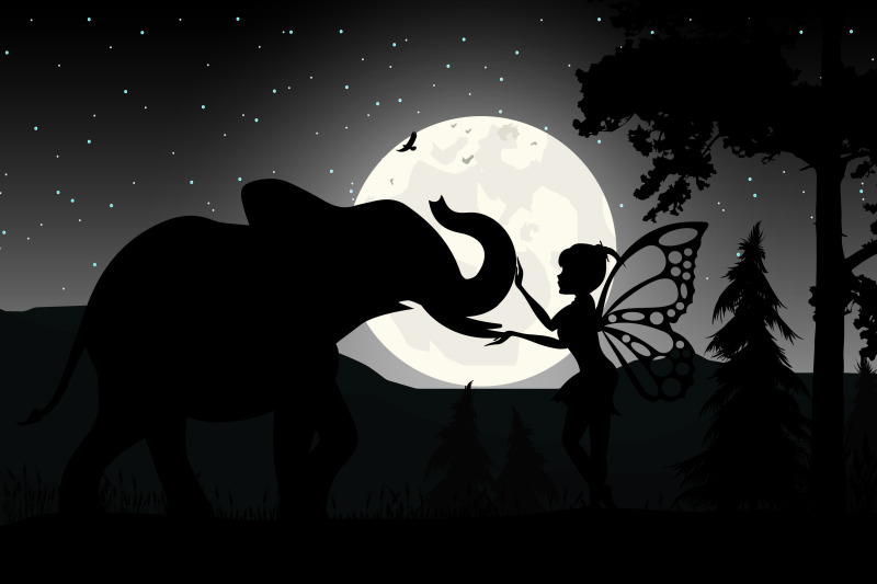 fairy-and-elephant-silhouette