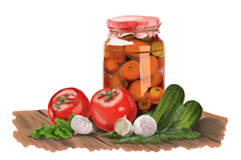 realistic-jar-pickle-mix-hand-painting-vector