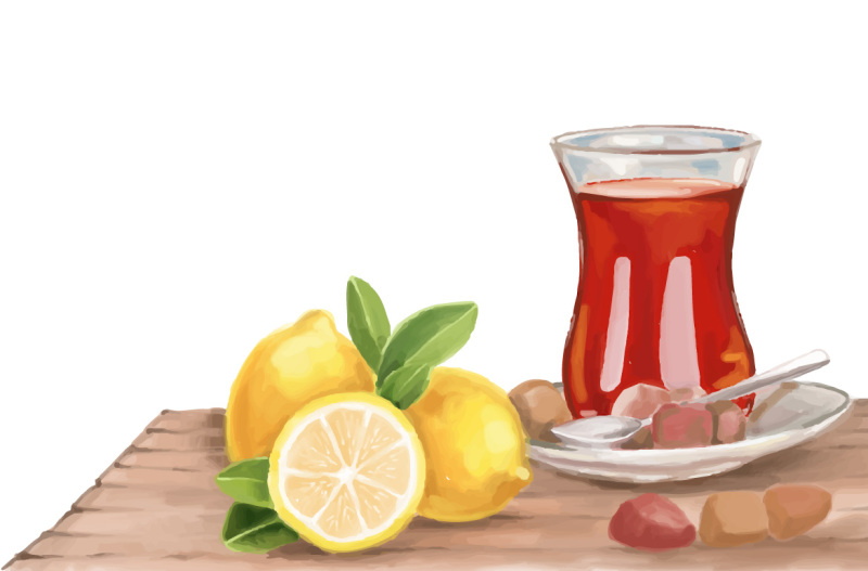tea-and-lemon-hand-painting-vector