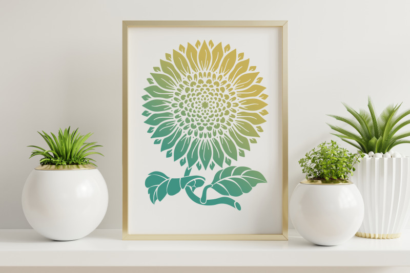 Sunflower SVG 2 Versions in 1, Silhouette & Outline V.2 By ...
