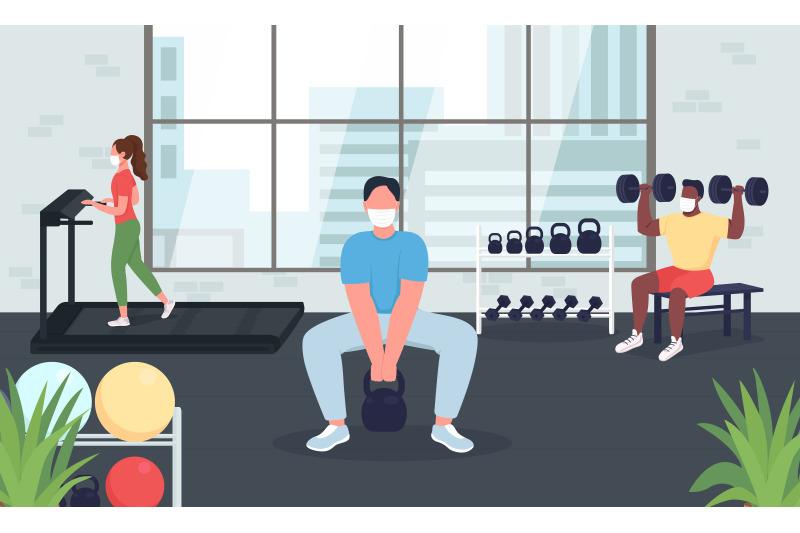 gym-during-quarantine-flat-color-vector-illustration