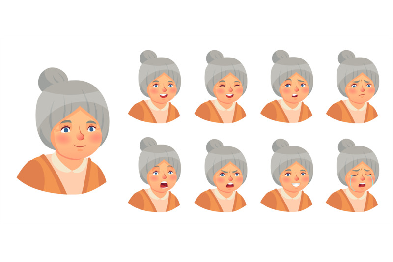 grandmother-emotions-set-vector-woman-lady-expression