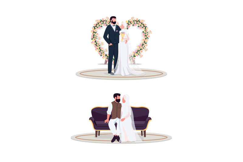 muslim-couple-on-wedding-day-flat-color-vector-faceless-character-set