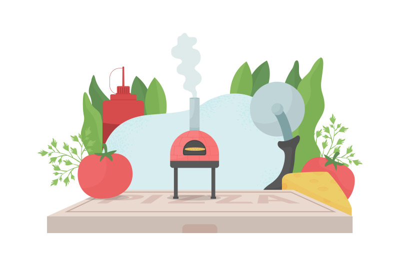 pizza-cooking-flat-concept-vector-illustration