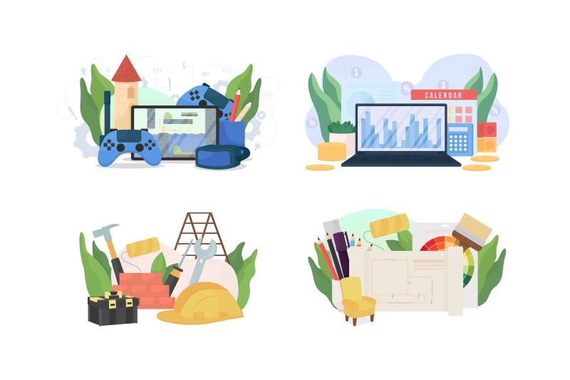 popular-jobs-flat-concept-vector-illustration-set