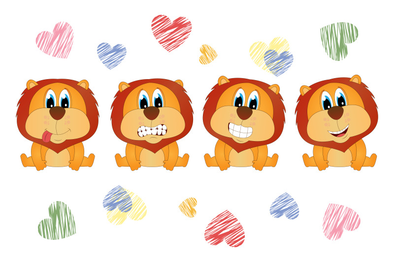 cute lion animal cartoon, simple vector illustration By ...