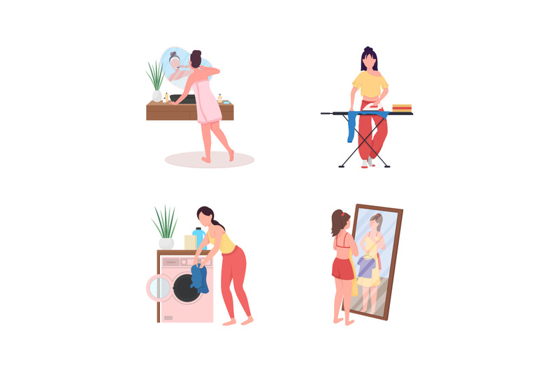daily-home-routine-flat-color-vector-faceless-character-set