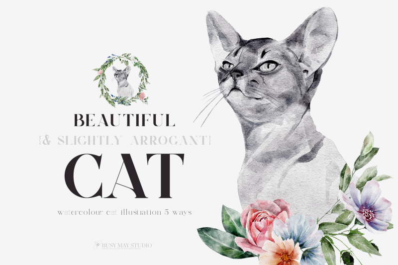 watercolor-cat-portrait-flowers-wall-posters-png-jpeg