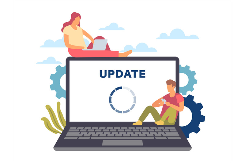 system-update-maintenance-process-man-and-woman-with-devices-loadin