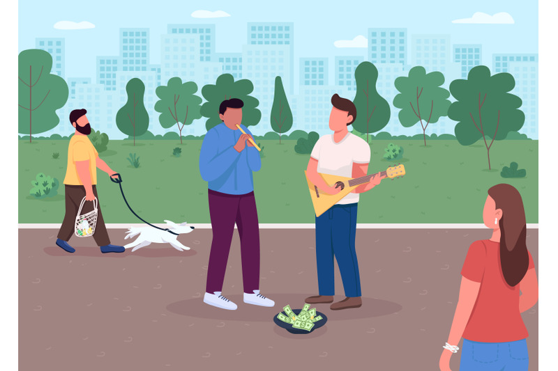 street-music-playing-flat-color-vector-illustration
