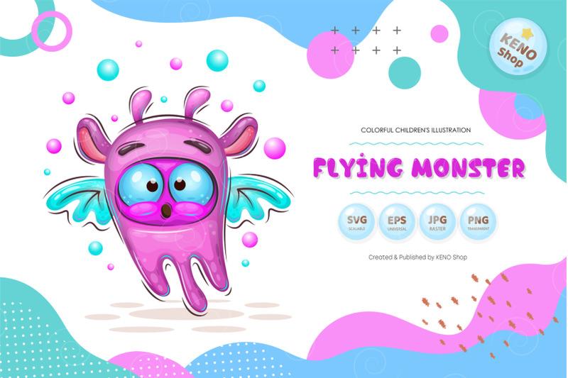 cute-cartoon-flying-monster