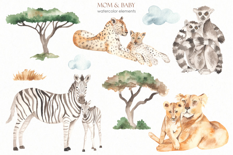 mom-and-baby-animals-watercolor