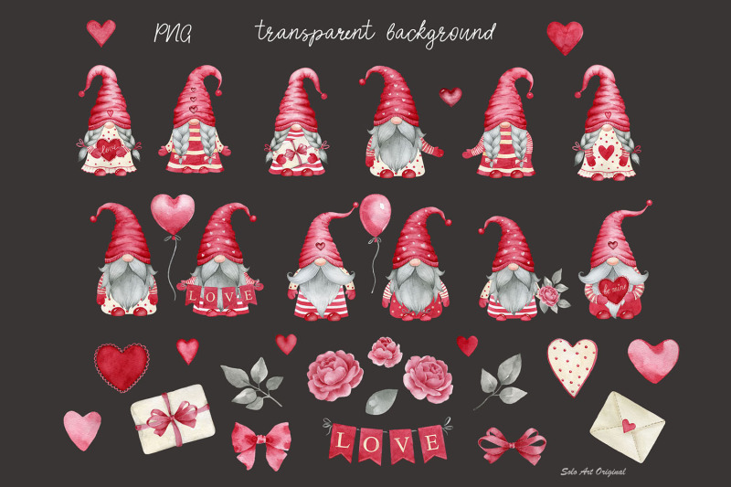 valentine-039-s-day-gnomes-girls-gnomes-boys-red-hearts-clipart-png-waterc