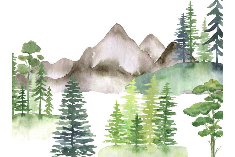 watercolor-forest-clipart-landscape-clip-art-tree-mountains-hills-natu
