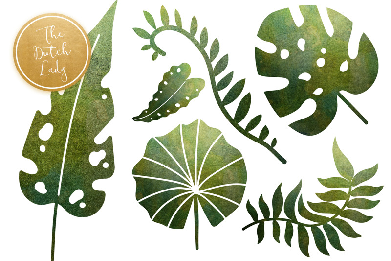 green-shiny-leaf-clipart-set
