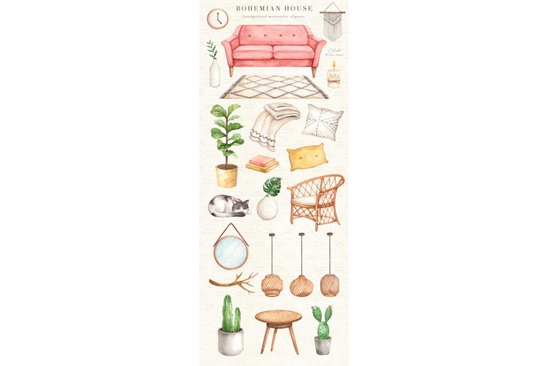 bohemian-house-watercolor-clip-arts