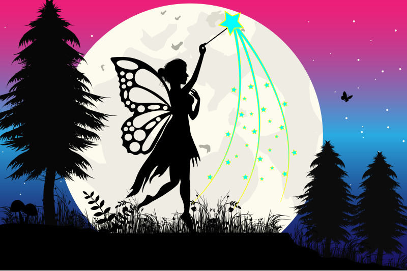 fairy-and-moon-silhouette