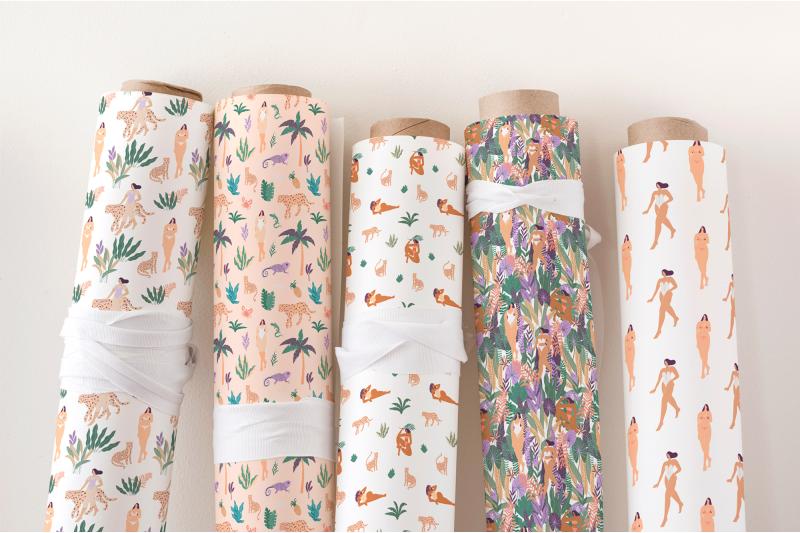 girls-in-paradise-jungle-seamless-pattern-set