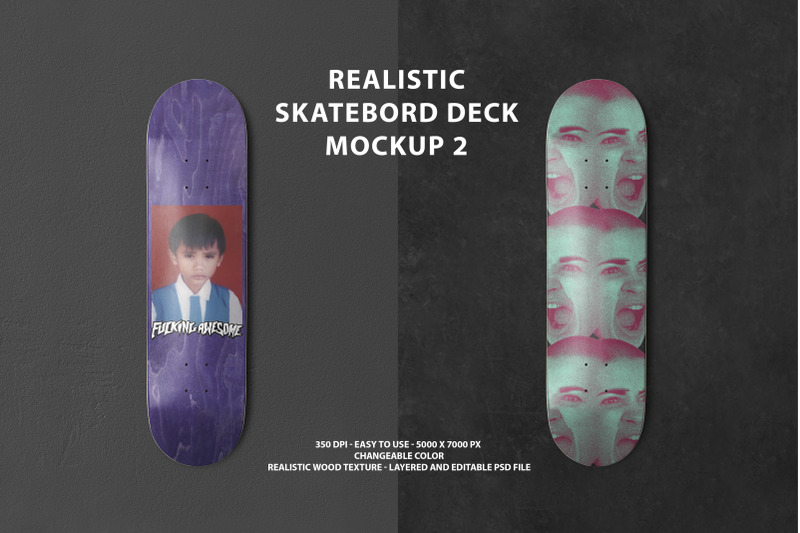 Download Realistic Skateboard Deck Mockup 2 Free Mockups
