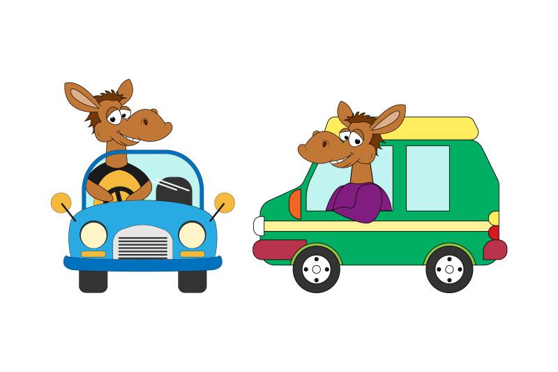 cute-horse-cartoon-ride-a-car