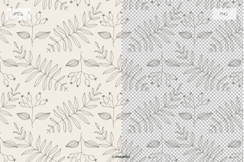 elegant-monochrome-nature-vector-patterns-and-seamless-tiles