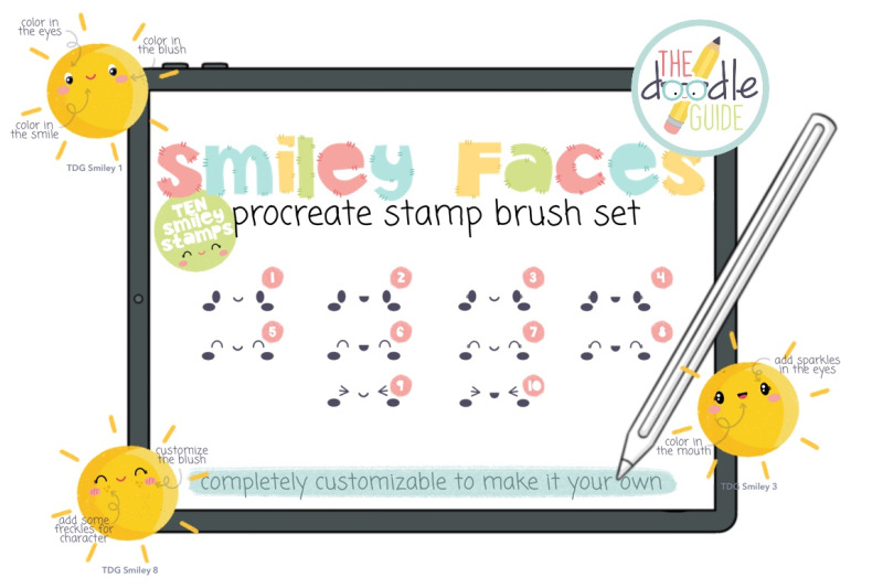 smiley-faces-procreate-stamp-brush