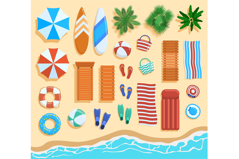 beach-elements-top-view-sandy-beach-elements-tropical-palms-chairs
