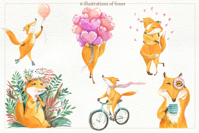 set-of-illustrations-of-foxes