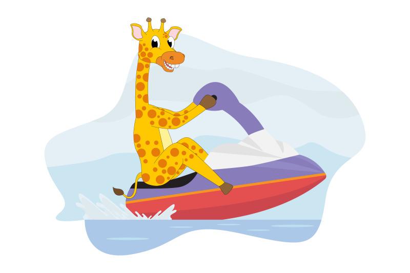 cute-giraffe-cartoon-ride-motor-boat